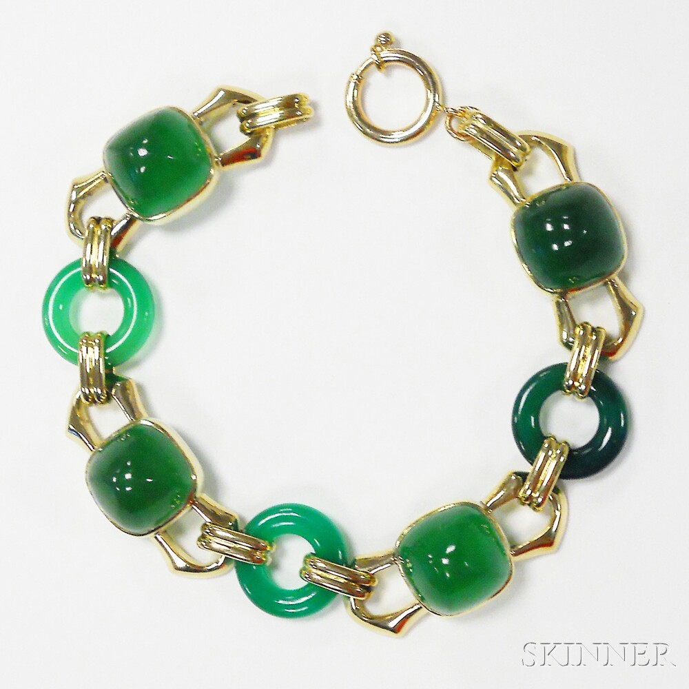 14kt Gold and Dyed Green Chalcedony Bracelet