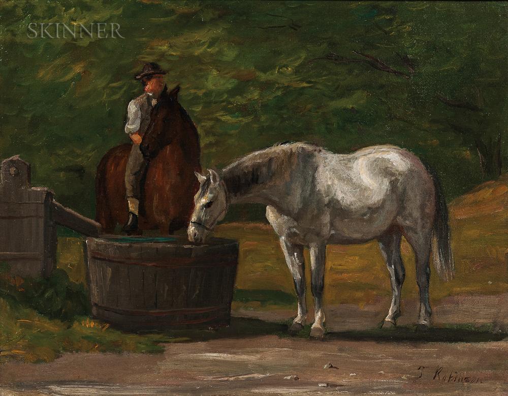 Thomas Harris Robinson (American, 1835-1888)      At Watering Trough