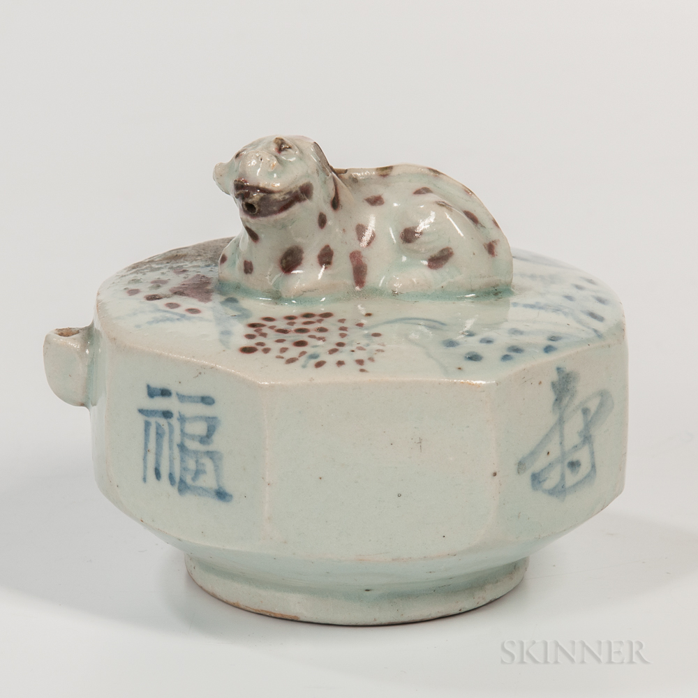 Blue and Copper White Porcelain Water Dropper