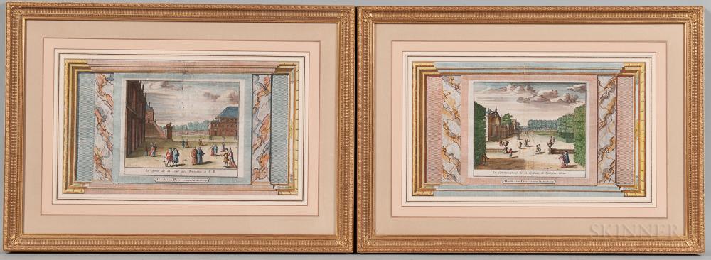 Jan Lamsvelt (Dutch, 16840-1743) and Pieter van der Aa (Dutch, 1659-1733)  Two Framed Views: Le Monté de la Cour, des Font...