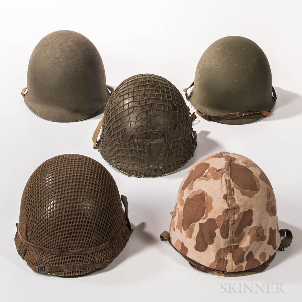 Five WWII-era U.S. M1 Helmets
