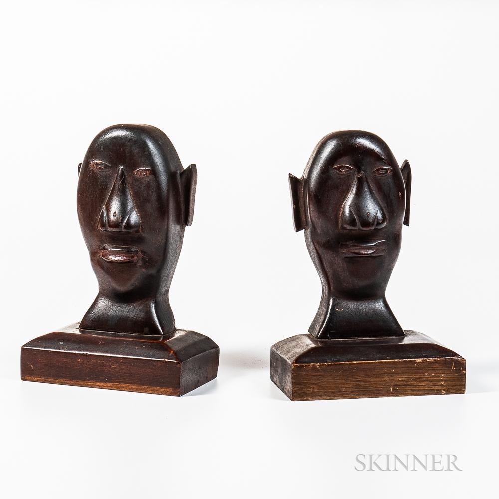 Pair of Carved Black Walnut Folk Art Bookends