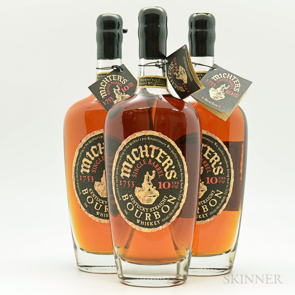 Michters Single Barrel Bourbon 10 Year, 3 750ml bottles