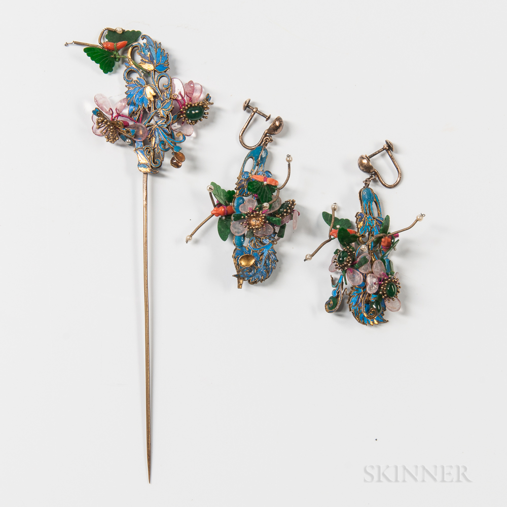 Ornamental Kingfisher Hairpin and Earrings