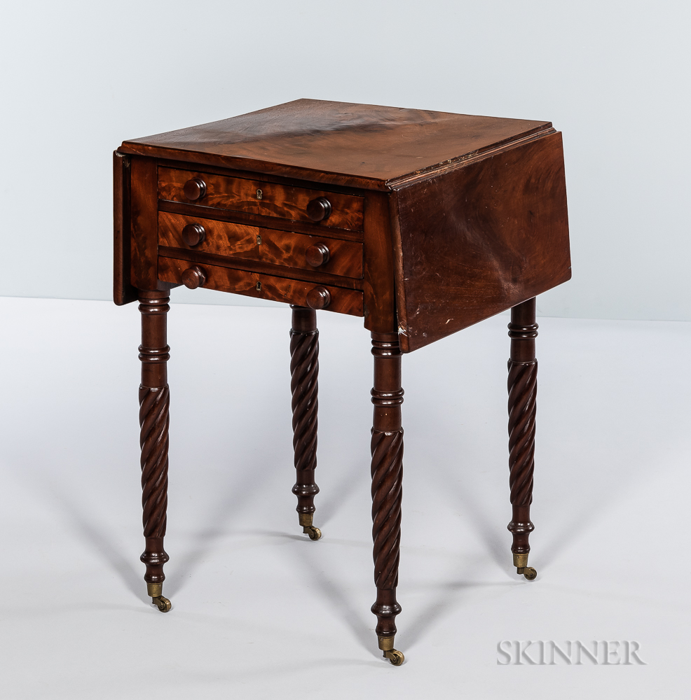 Classical Carved Mahogany Sewing Table