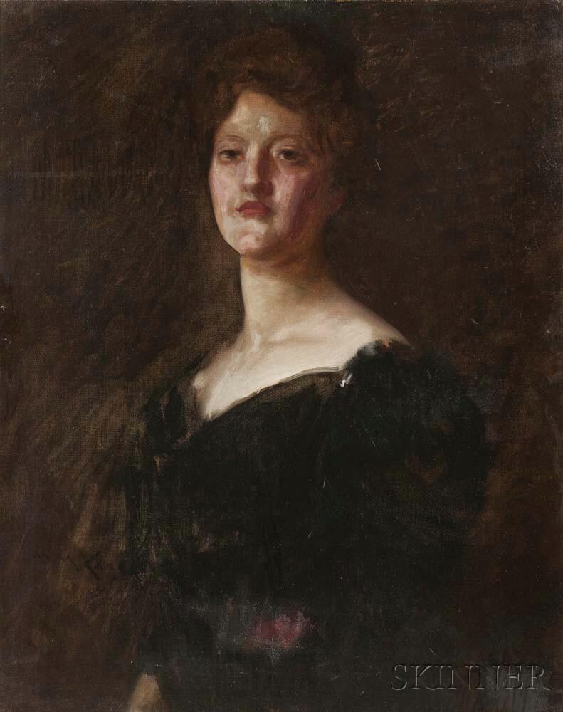 William Merritt Chase (American, 1849-1916)      Lady in Black (Lilian Westcott Hale)