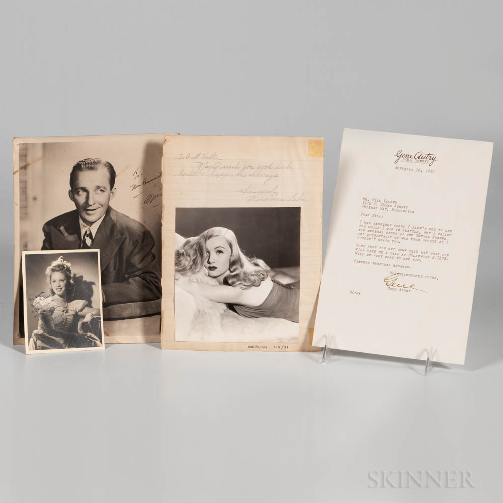 Hollywood Actors Large Collection of Signed Material from the Estate of Rudy Vallee.