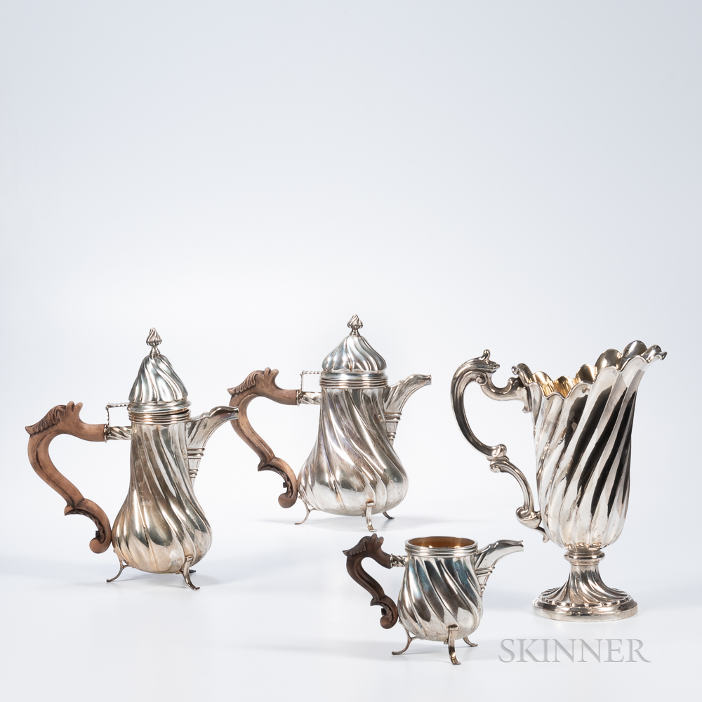 Four Pieces of Italian .800 Silver Tableware