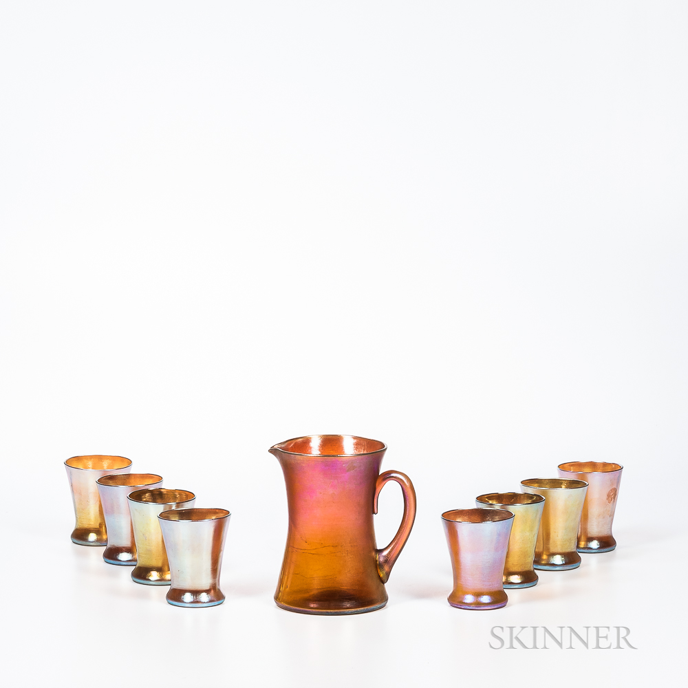 Tiffany Studios Gold Favrile Pitcher and Eight Union Glass Company Kew Blas Tumblers