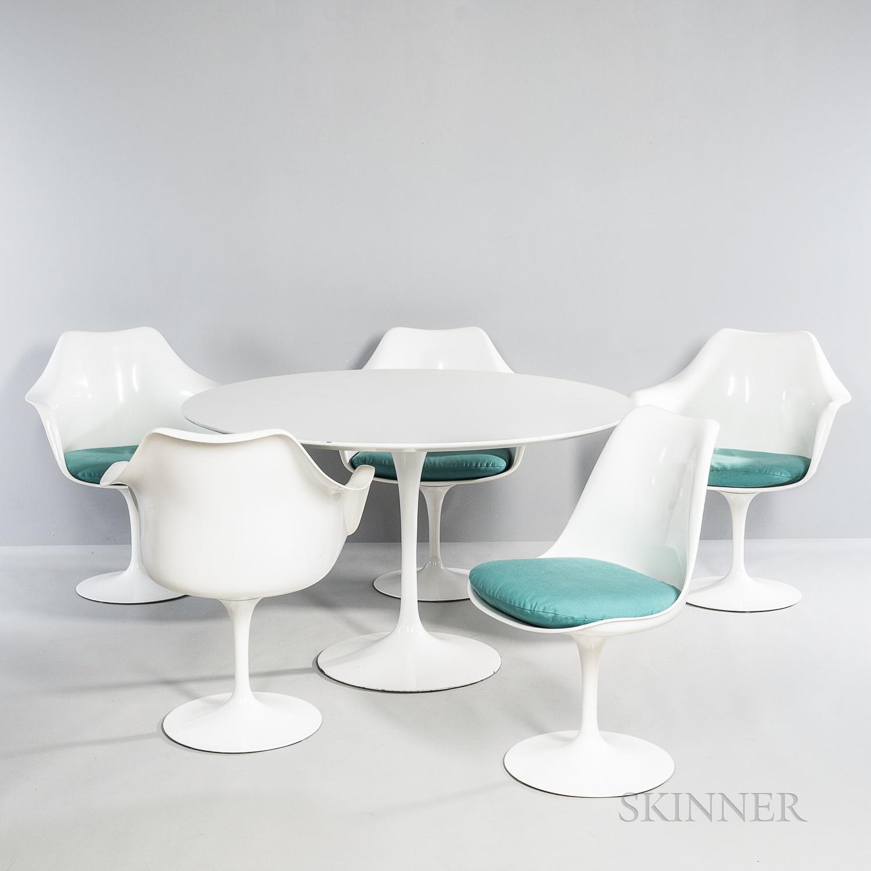 Eero Saarinen (1910-1961) for Knoll International Tulip Dining Table and Five Tulip Chairs