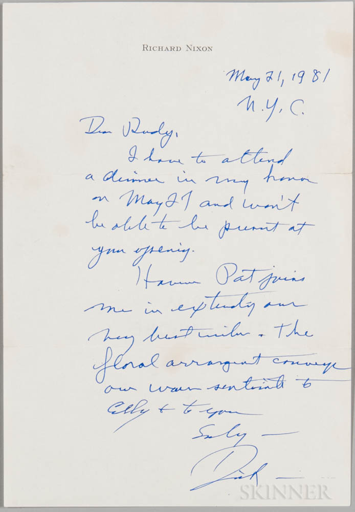 Nixon, Richard (1913-1994) Autograph Letter Signed, New York City, 21 May 1981.