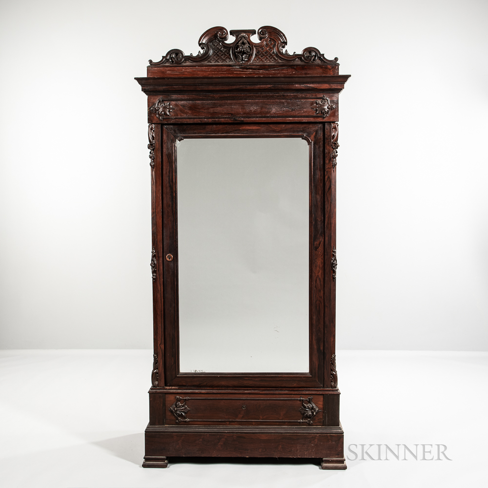 Rococo Revival Carved and Mirrored Rosewood Armoire