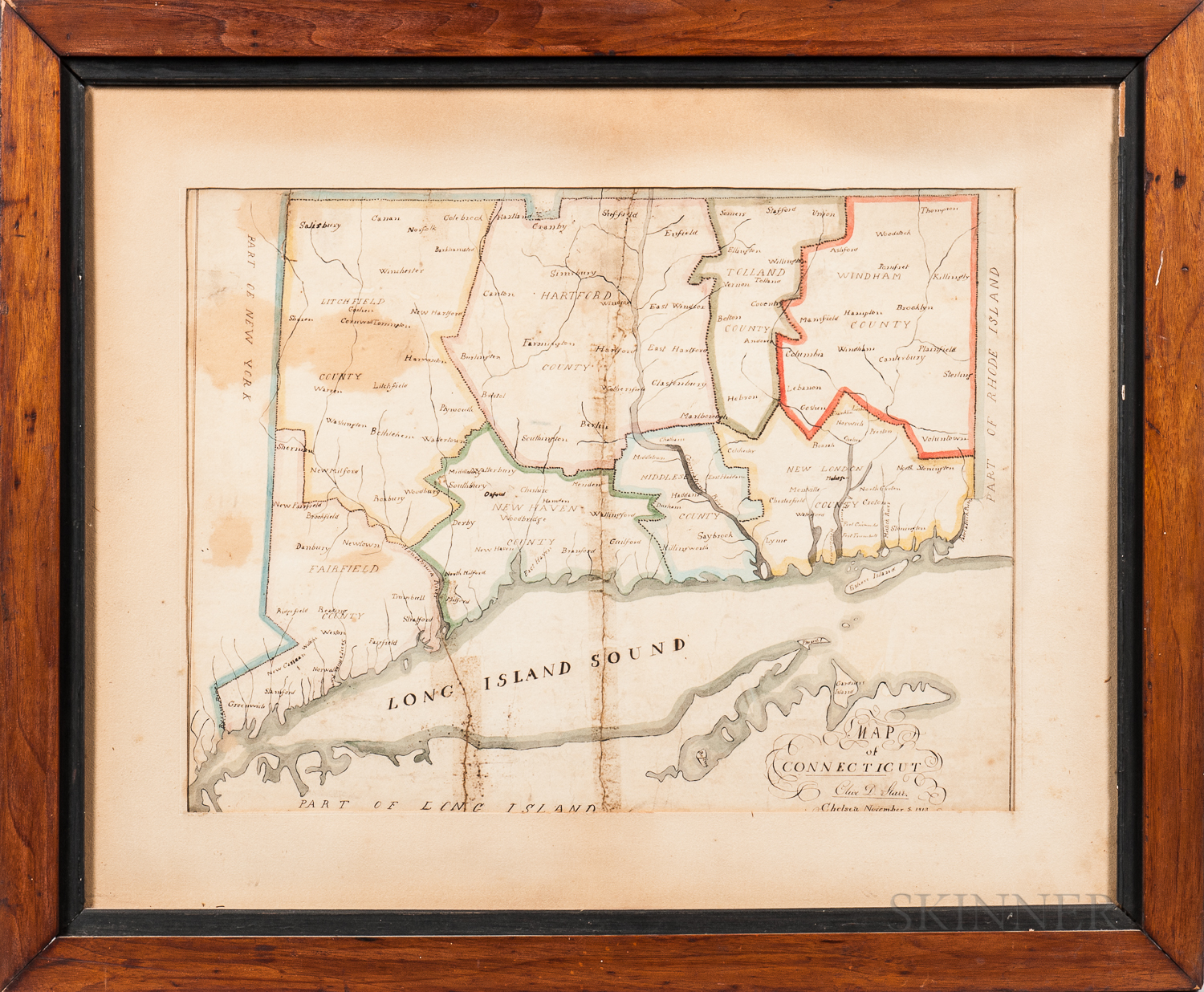 Pen and Ink and Watercolor Schoolboy Map of Connecticut and Surroundings