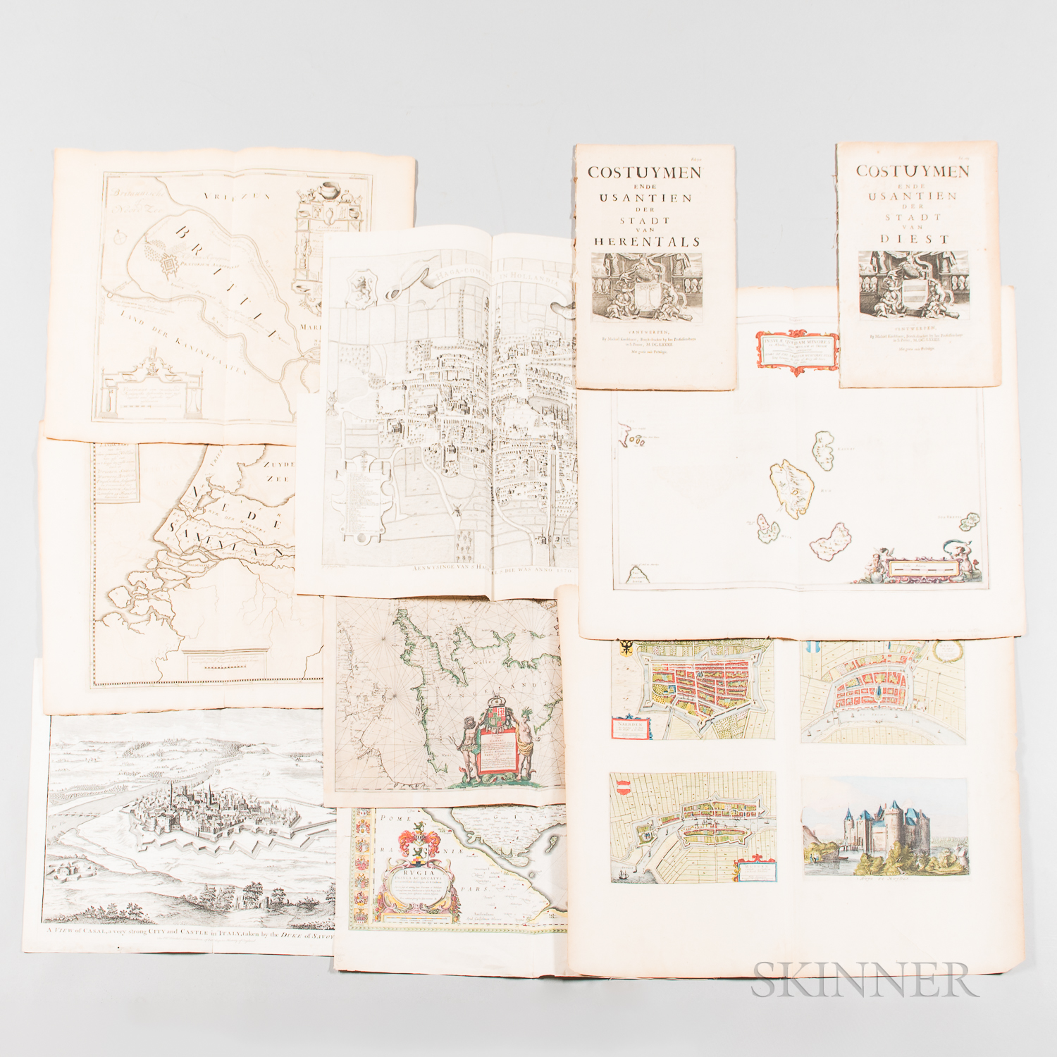 Eight 17th/18th Century European Maps and Two 17th Century Costume Books