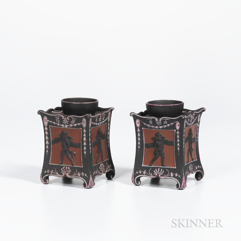 Two Similar Wedgwood Encaustic Decorated Black Basalt Bulb Pots