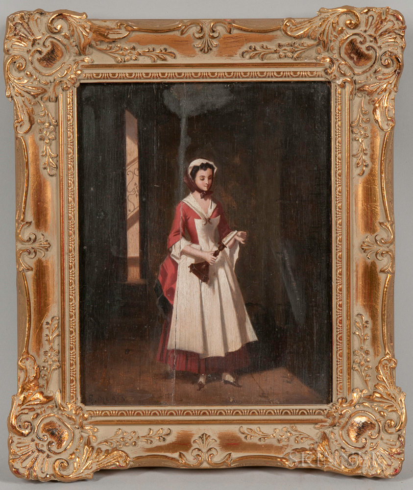Continental School, 19th Century      Young Maid Lighting a Candle