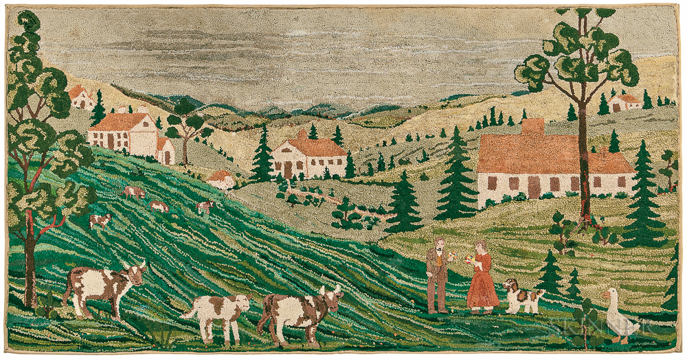 Large Hooked Rug with a Country Landscape