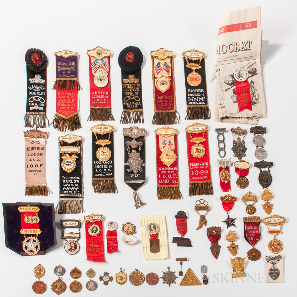 Approximately Fifty-five Odd Fellows Badges, Ribbons, and Related Medals
