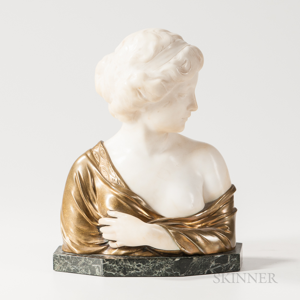 Bronze and Alabaster Bust of a Maiden