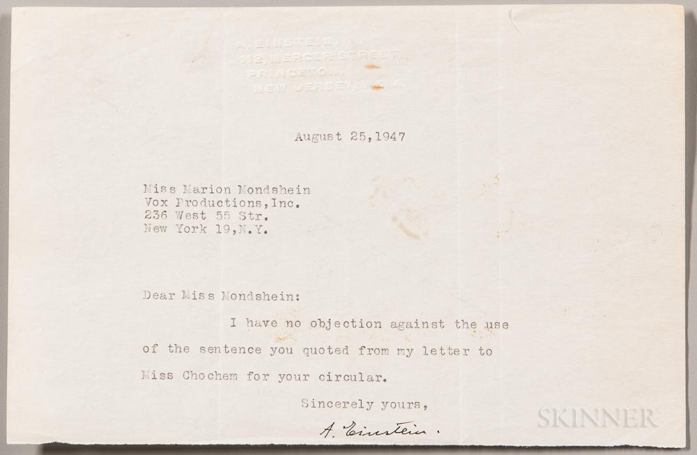 Einstein, Albert (1879-1955) Typed Letter Signed, 25 August 1947.