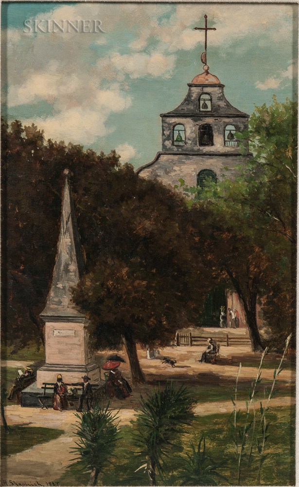 Frank Henry Shapleigh (American, 1842-1906)      Cathedral and Spanish Monument, St. Augustine
