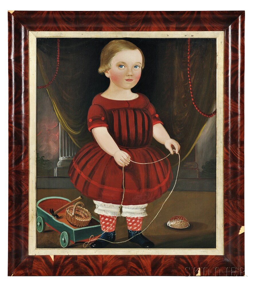William Matthew Prior (Massachusetts, Maine, 1806-1873)      Portrait of a Boy in a Red Dress with His Toy Wagon