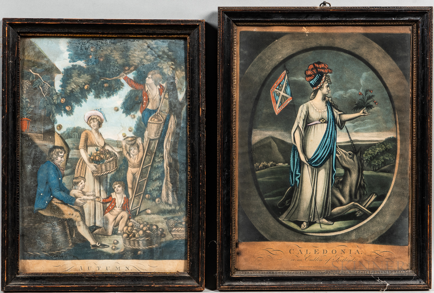 Eight Early Framed Hand-colored Prints