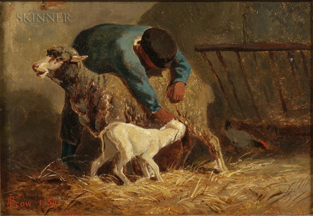 John Gardner Low (American, 1835-1907)      Herder with Ewe and Lamb