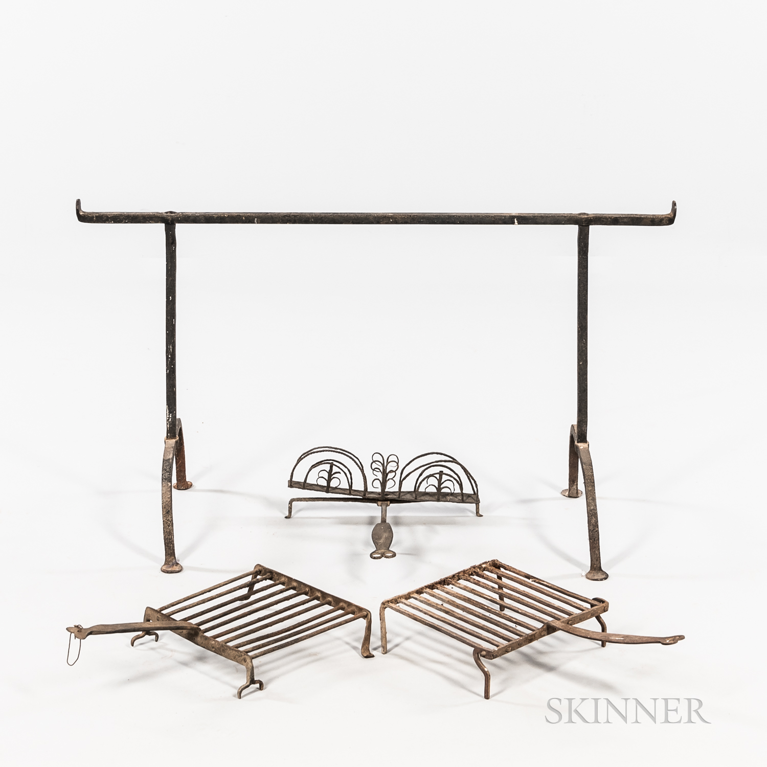 Group of Wrought Iron Hearth Items