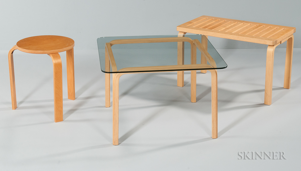 Alvar Aalto Bench, Stool, and Table