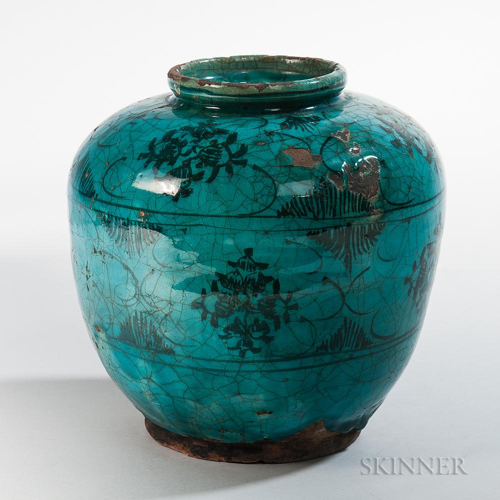Turquoise Blue-glazed Pottery Jar