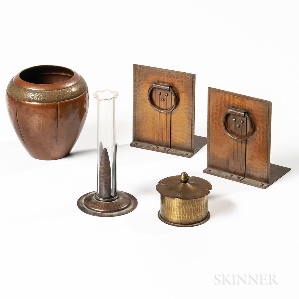 Five Roycroft Copper Desk Items