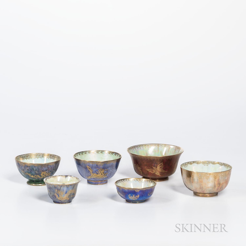 Six Wedgwood Lustre Bowls