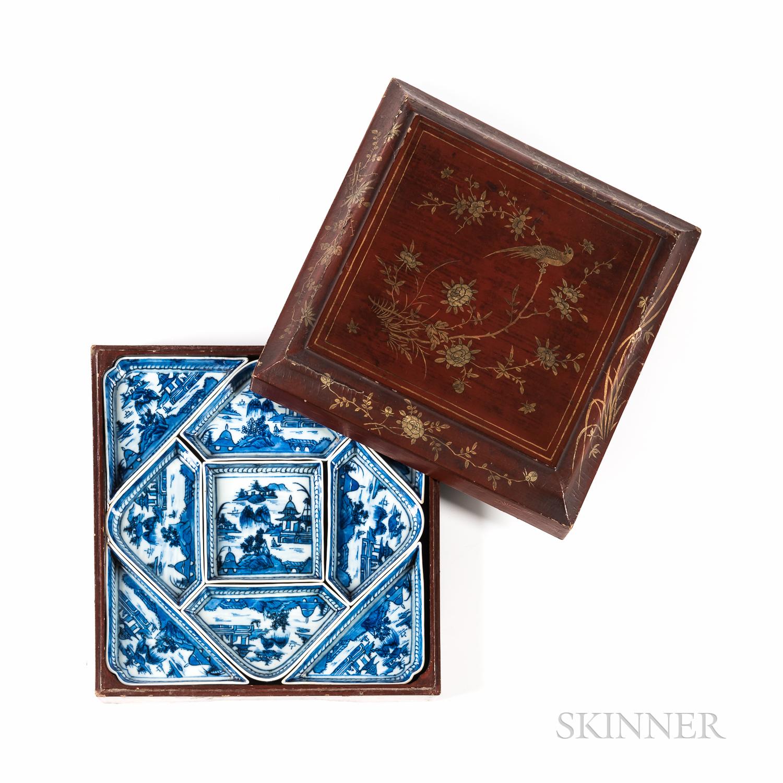Blue and White Export Porcelain Condiment/Serving Set