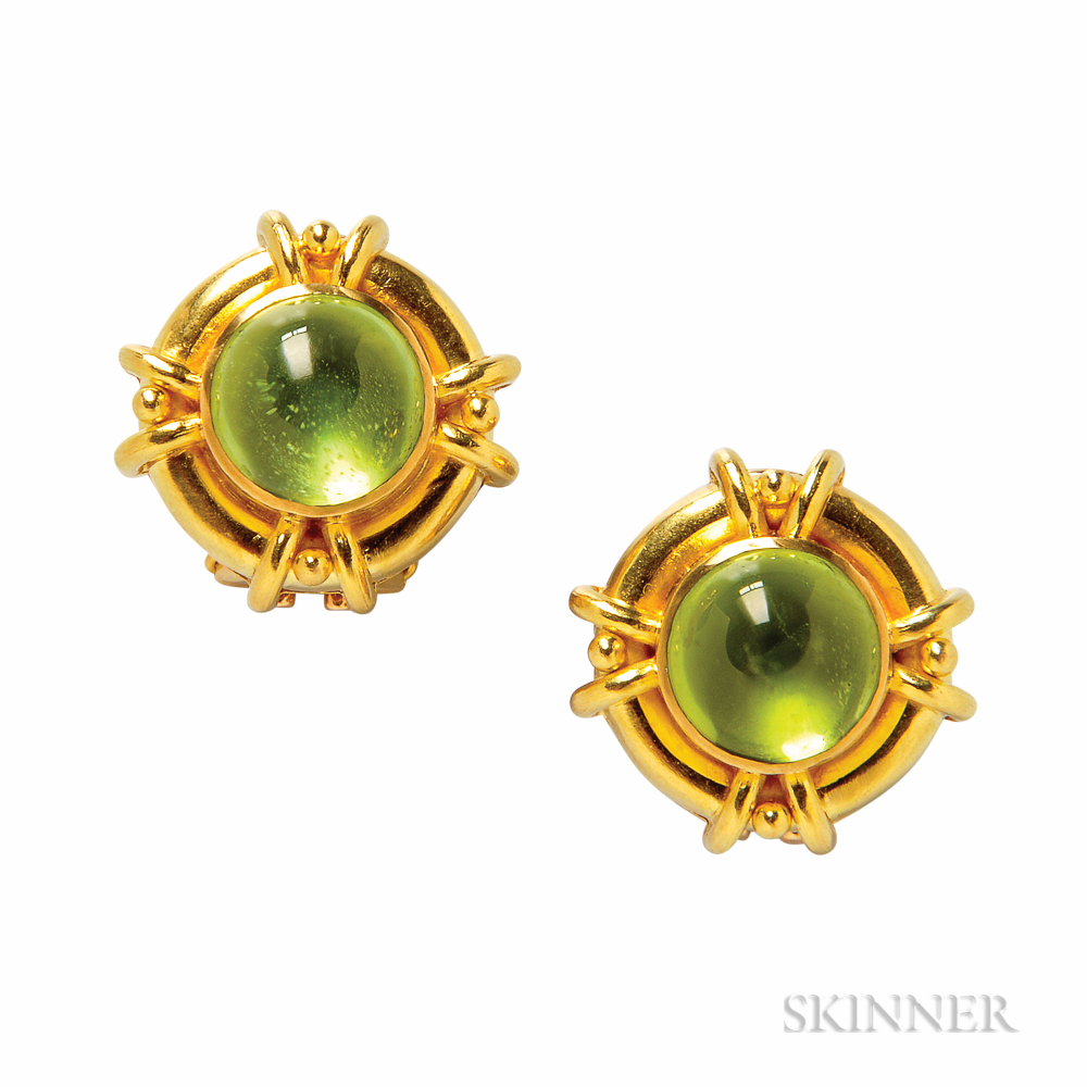 19kt Gold and Peridot Earclips, Elizabeth Locke