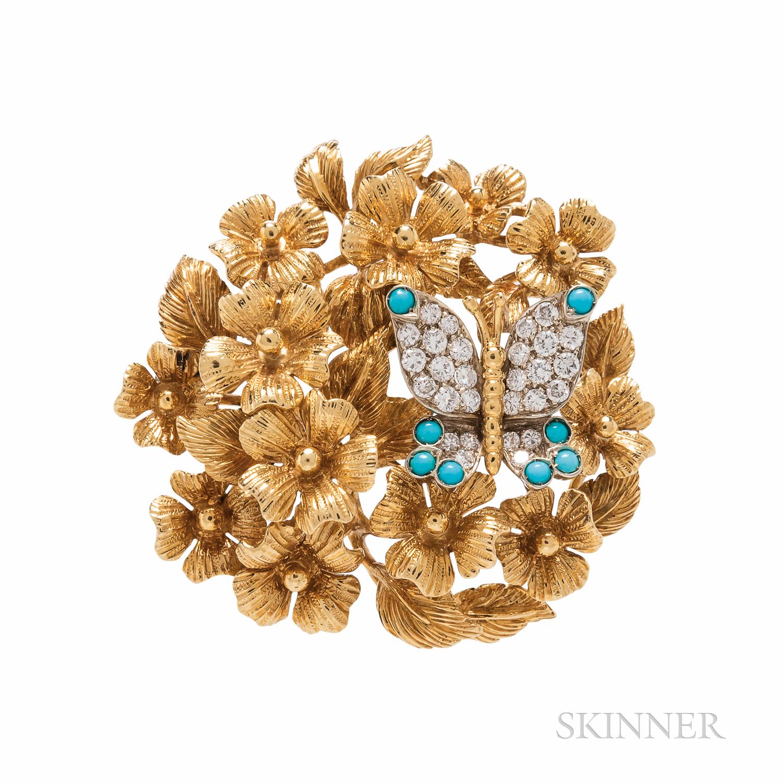 Tiffany & Co. 18kt Gold and Diamond Brooch