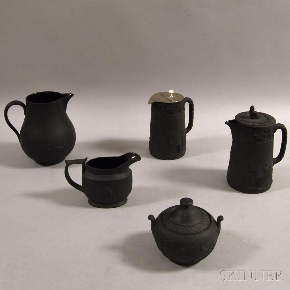 Five Mostly Wedgwood Black Basalt Vessels