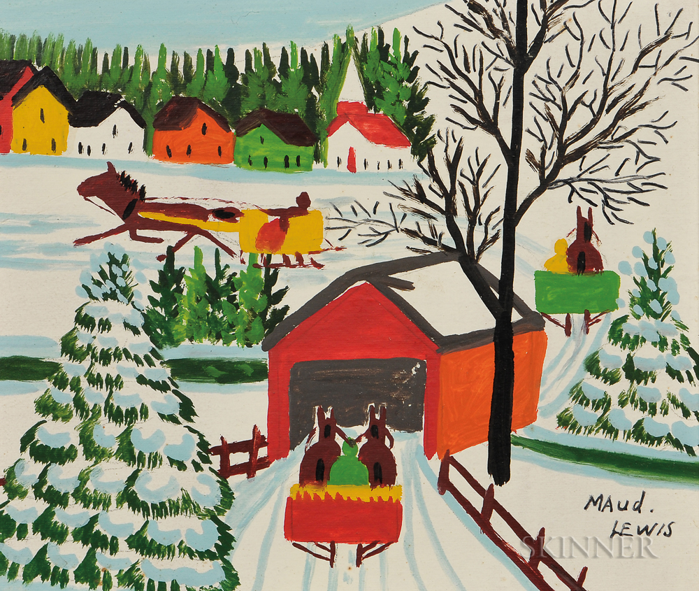 Maud Lewis (Canadian, 1903-1970)      Winter Scene with Horse-drawn Sleighs and Covered Bridge