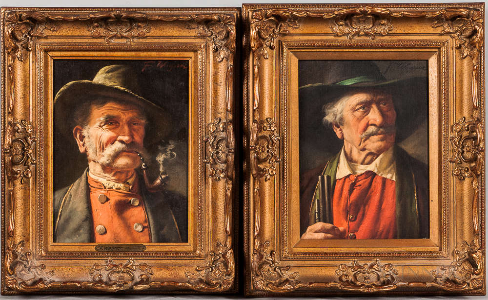 Attributed to Fritz Wagner (German, 1896-1939), Two Portrait Heads of Bavarian Men: One Smoking a Pipe, One Holding the Barrel of a Gun
