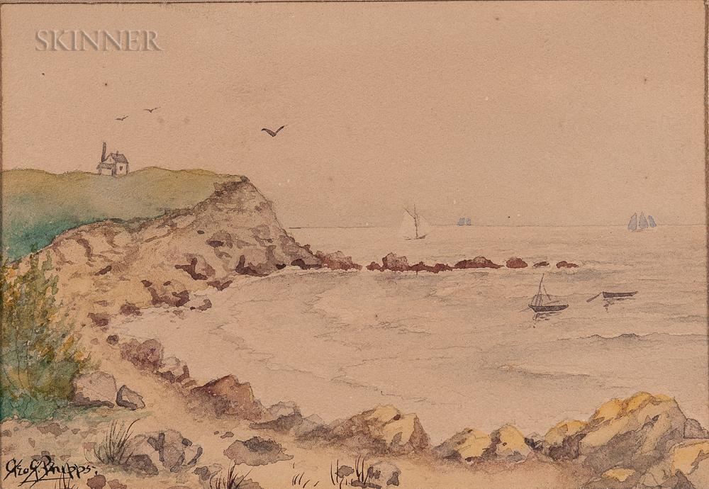 George Gardner Phipps (American, 1838-1925)    Coastal Scene with Sailboats