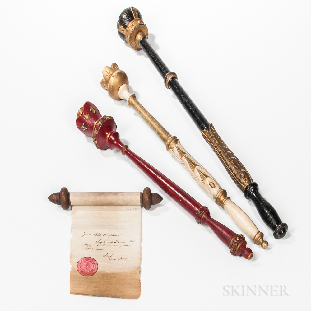 Three Turned, Carved, and Painted Odd Fellows King's Scepters and a Rare King Saul Scroll