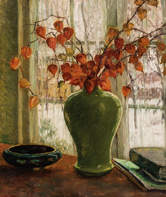 Cullen Yates (American, 1866-1945)      Winter Flowers: Japanese Lanterns in a Green Vase