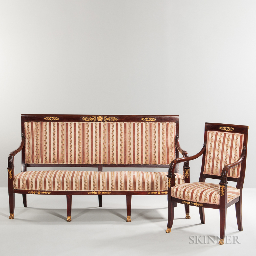 Neoclassical-style Mahogany Seating Suite