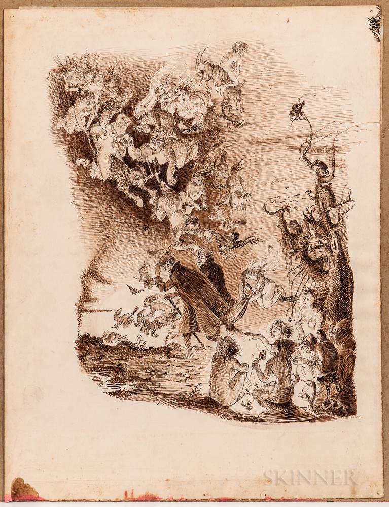 Faust  , Three Original Pen-and-ink Drawings.