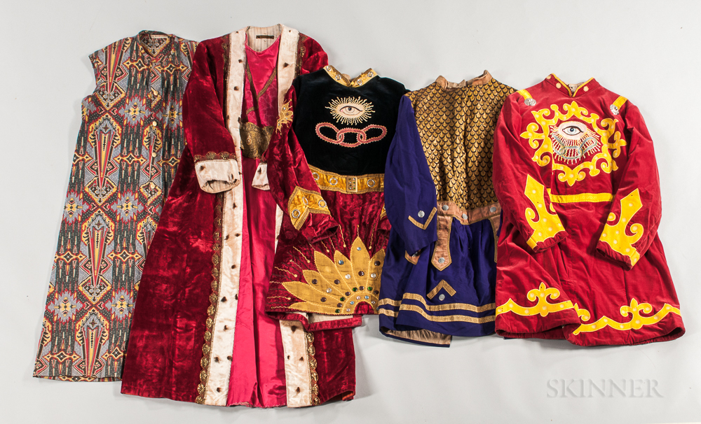 Group of Odd Fellows and Rebekah Lodge Costumes, Headgear, Member's Collars, and Related Items