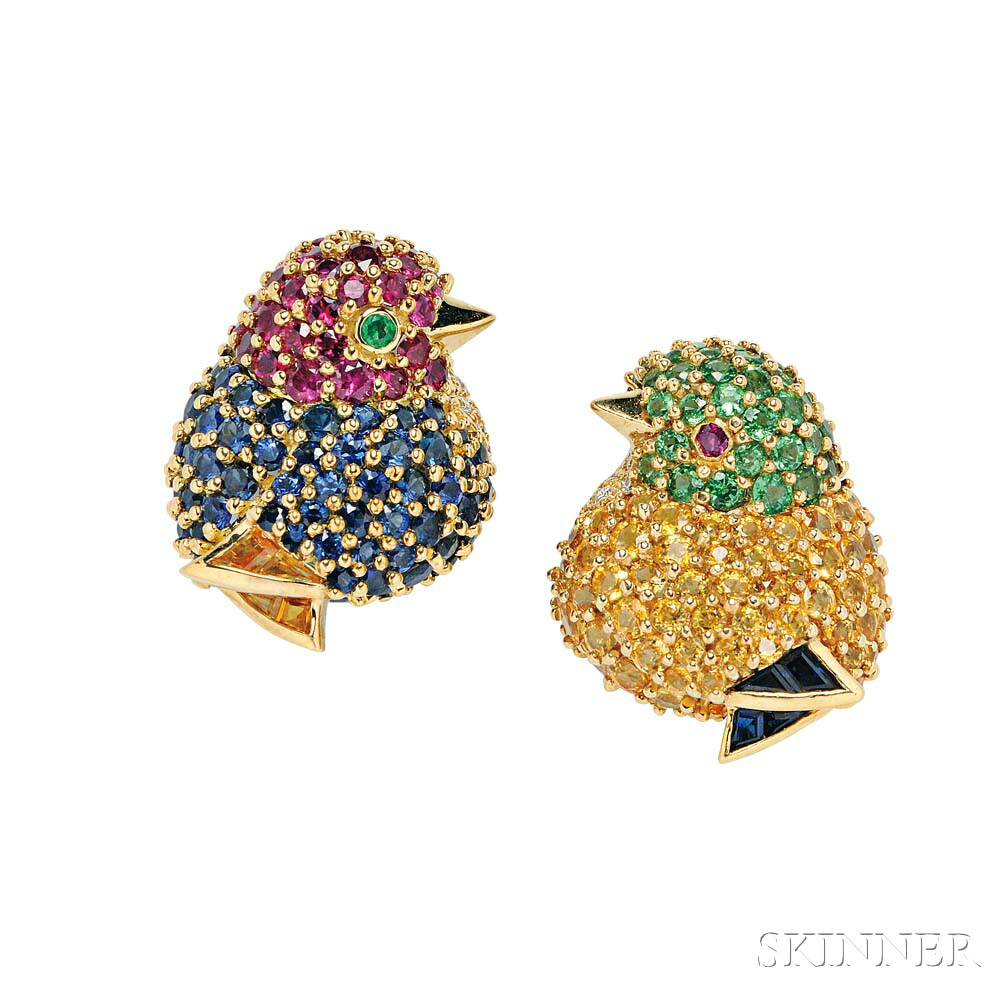 Pair of 18kt Gold Gem-set Songbird Brooches, Jean Vitau