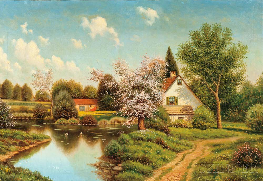 George W. Drew (American, 1875-1968)    House by a Pond in Spring