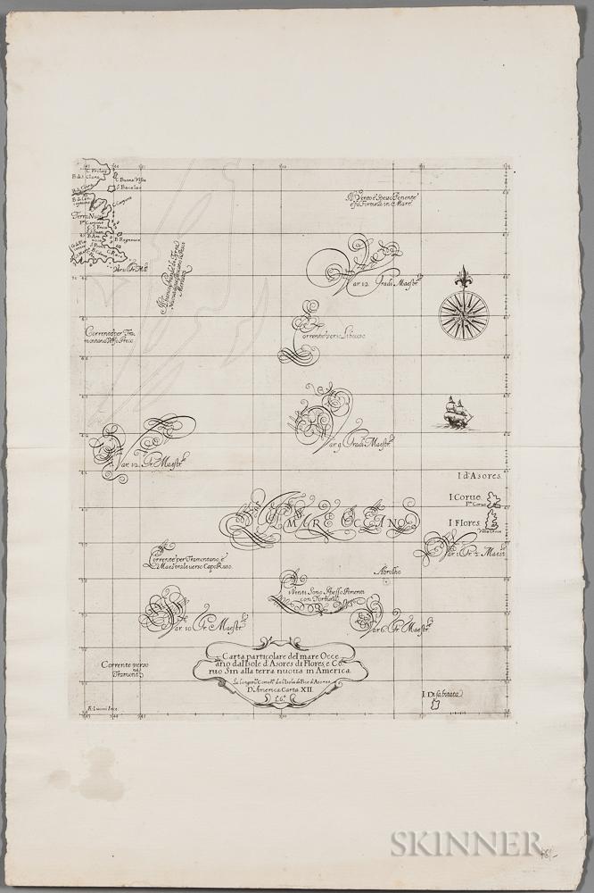 North Atlantic, Newfoundland to the Azores. Sir Robert Dudley (1574-1649) Carta Particolare del mare Occeano dalIsole dAsores di Flor