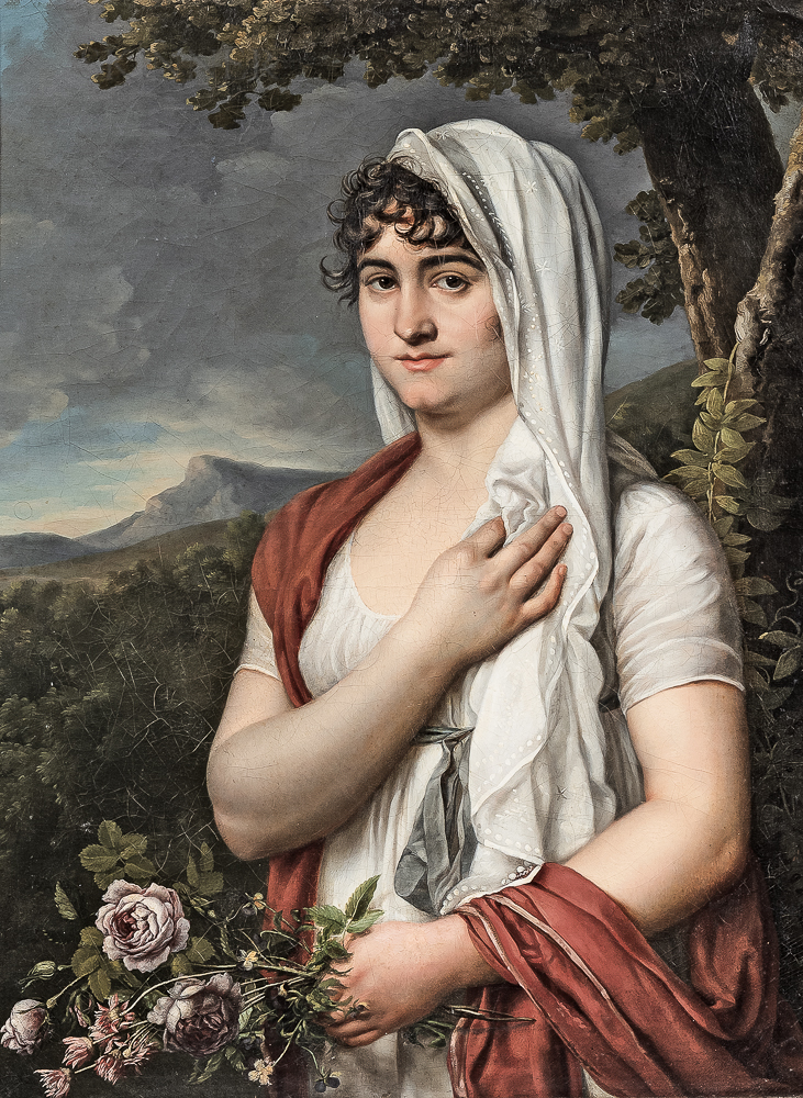 J. Moriès (French, c. 1760-c. 1812)      Woman in a White Headscarf Holding Flowers
