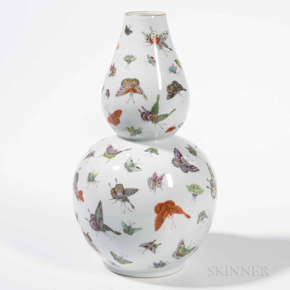 Enameled White Porcelain Double Gourd Vase